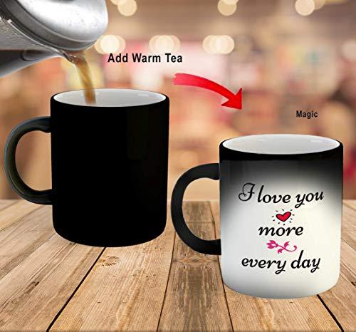 iKraft Love Quotes Printed Black Magic Coffee Mug- Black- 325ml Gift for Couple