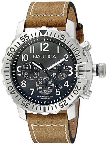 Nautica pour homme Nad18506g NMS 01en acier inoxydable montre avec bande de cuir Marron
