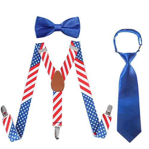 Kinder Hosenträger Fliegen Krawatten Sets - Einstellbar Elastisch Klassisch Hosenträger Fliegen Set für 6 Monate alte - 13-jährige Jungen & Mädchen (Sterne und Linien, 80 cm(6 Jahre alt - 5 Fuß hoch)) -
