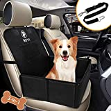 Wimypet Dog Car Seat with Seat Belt, 3in1 Dog Booster Seat Cover Protector Waterproof Front Coverage/Small Basket Hammock, Pet Car Seat Carrier Basket with Mesh Pocket Sturdy Wall