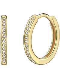Rafaela Donata - Créoles avec fermetures à charnière - Argent sterling 925 (dorées jaune) oxyde de zirconium, boucles d'oreilles oxyde de zirconium, bijoux en argent - 60903084