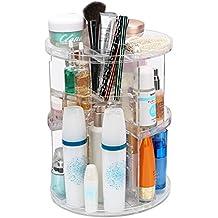 Organizador de Maquillaje Cosméticos ISWEES Caja Acrílica Para Cosméticos, 360 Grados de Rotación Gran Capacidad, Acrílico Transparente (360 Grados de Rotación)