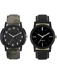 JIYA Enterprise New Fashion 003-005 Fast Selling 2 Combo Branded Leather Analog Watch - For Boys And Men Analog...