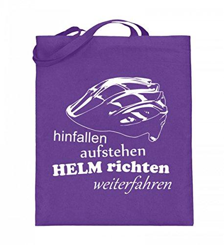 Hochwertiger Jutebeutel (mit langen Henkeln) - Helm richten, weiterfahren Violett