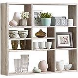 Estantería de pared de estantería de libros de espacio de almacenamiento estantería de Mika de roble de arena de decoración de FMD