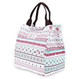 WAWJ 5 Pattern Picnic Cool Bag Cold Insulated Lunch Bag For Women Water Resistant Canvas Cute Girls Lunch Bags for Kids (Flower Print)