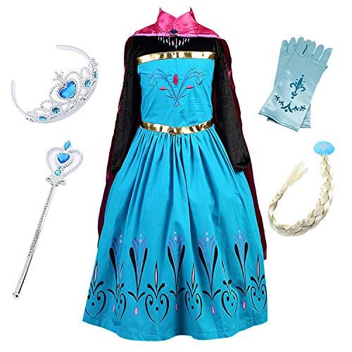 FStory&Winyee Karneval Verkleidung Mädchen Prinzessin Kostüm Kinder Karneval Kostüm Cosplay Kleid Eiskönigin ELSA Anna Kostüm mit Umhang Fasching Kostüme Party Weihnachten Halloween Fest Aufführung (Einfach Elsa Kostüm)