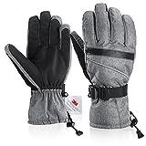 Fazitrip Herren 3M Thinsulate wasserdichte und winddichte Ski Handschuhe mit Touchscreen Fingers Winter Handschuhe (Gray, M/L)