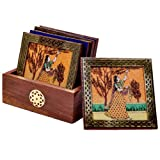 #2: Little India Gemstone Painting Tea Coaster  (Brown,HCF112)
