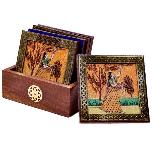 Little India Gemstone Painting Tea Coaster (Brown,HCF112)