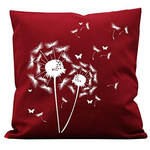 """Preisvergleich Produktbild Bedrucktes Kissen """"Pusteblumen Schmetterling"""" von Wandtattoo-Loft® / Kissen aus Baumwolle 40 x 40 cm mit Füllung und hochwertigem Aufdruck / Kissen Farbe wählbar / waschbar / 08 Stoff bordeaux rot + Motiv weiß"""