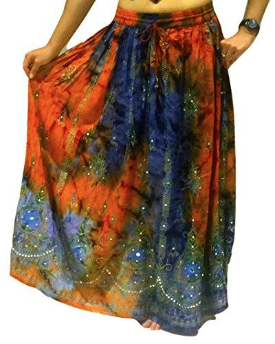 Bunte Womans Damen Indianer Boho Hippie Zigeuner Sequin Sommer Sommerkleid Maxi Bauchtanz Rock 11-1