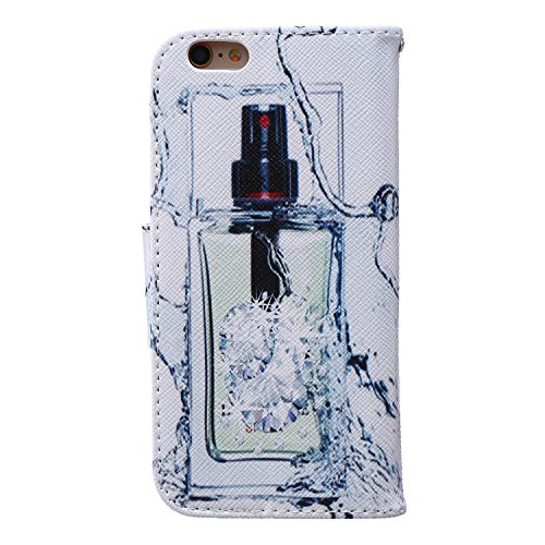 Etche Etui coque pour iPhone 5/5S,Housse en cuir PU pour iPhone 5/5S,portefeuille couvercle de la poche pour iPhone 5/5S,Housse en cuir de cuir flip couverture Wallet téléphone Case avec des fentes de bouteille parfum