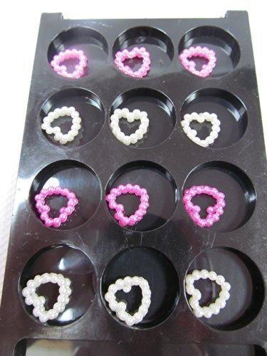 1 paquet de 24 haute qualité 3D perle style cœur motif nail art avec boîte de rangement - par Fat-catz-copie-catz