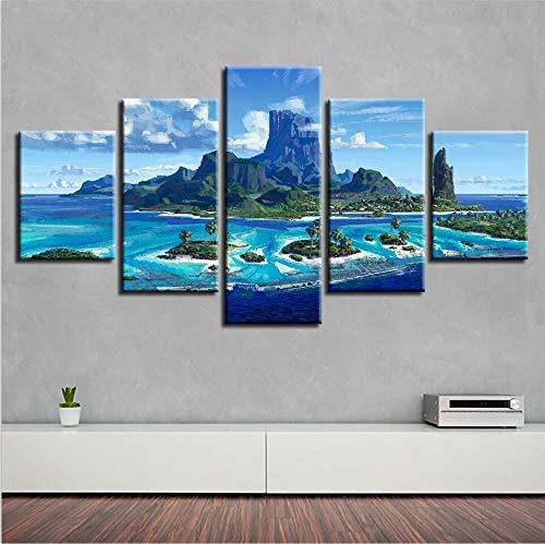 c619d29b5a alicefen Decoración para el hogar Impresiones en Lienzo 5 Piezas Seaview  Mountain Peaks Sunshine Pintura para