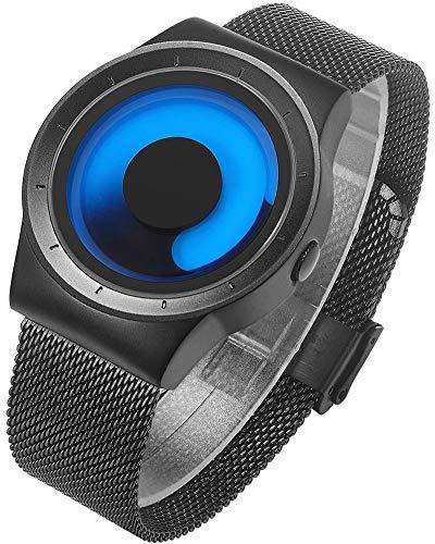 BIDEN Herren Uhren Blau Minimalistische Mode Einzigartiges Coole Kreativ Quarz mit Edelstahl Mesh Armband