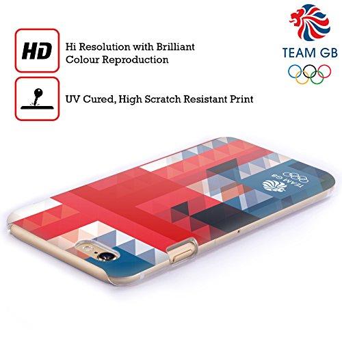 Official Team GB British Olympic Association White Triangle Geometric Union Jack Hard Back Case for Apple iPhone X Quadrato Blu