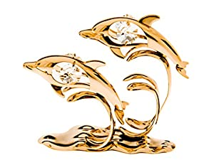 Twin Dolphins with Waves 24k Gold Plated Figurine with Swarovski Crystals