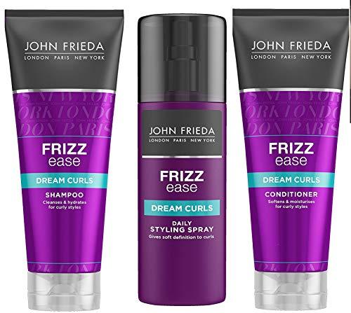 John Frieda Lockenstab Leichtigkeit Traum Locken Trio Shampoo + Conditioner 250ml + gehen Gelockt Spray 100ml