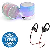 Drumstone Colorful LED Light Crack Pattern Mini Stereo Portable Wireless Bluetooth Speaker With QC-10 JOGGER SPORTS Bluetooth Headset V4.1 Works With All Android Or Iphone Devices (1 Year Warranty, Color May Vary)