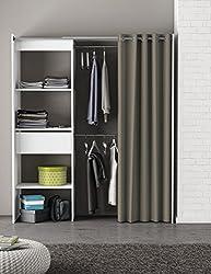 Kleiderschrank mit Vorhang weiß B 169 cm Schrank Wäscheschrank Kinderzimmer Jugendzimmer Schlafzimmer Stoffschrank Vorhangschrank