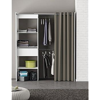 Kleiderschrank mit Vorhang weiß B 169 cm Schrank Wäscheschrank ...