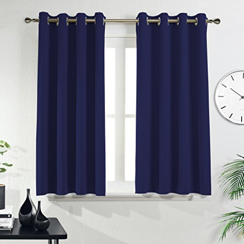 PONYDANCE Window Treatments Eyelet Blackout Curtains Thermal Insulated Top  Ring Kitchen Short Curtain Drapes For Bedroom/Room Darkening U0026 Energy  Saving, ...