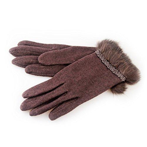 Mignon hiver femme rétro était gants de peluche fine Mme automne chaud et la conduite hivernale
