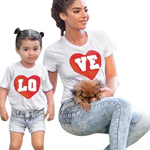 Oyedens Familien Kleidung, Mutter und Tochter Kleidung Sommer Family Partnerlook Tank Tops T-Shirt Bluse Mom & Me Frauen Lady Mather Kurzarm Brief T-shirt Bluse Familie Kleidung (M, Tochter)