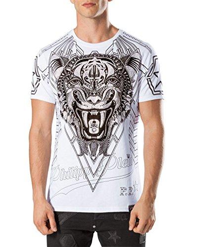 Philipp plein maglietta da uomo psychological - bianco, m