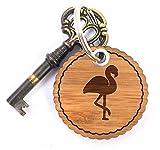 Mr. & Mrs. Panda Rundwelle Schlüsselanhänger Flamingo - Flamingo, Pink, Federn, Flusskrebse Schlüsselanhänger, Anhänger, Taschenanhänger, Glücksbringer, Schlüsselband