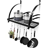 Geo Fashion Indian Sterline Kitchen Wall Mount Metal Grid Pot With Hanging Pots & Pan Hooks And Spice Rack With Storage Shelf