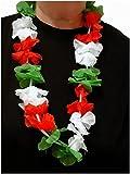 Sportfanshop24 Blumenkette/Hawaiikette / Halskette - rot-weiß-grün (Italien, Ungarn, Iran/Persien, Mexiko, Wales) - Umfang zirka 100cm (1m)