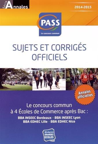 Concours commun PASS : Sujets et corrigés officiels