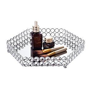 Feyarl Kristall Sechseck Kosmetische Tablett Jewelry Organizer Eitelkeit Tablett verspiegelt Dekoratives Tablett (Silber)