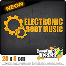 RETROVISORE Electronic Body Music–EBM ruota dentata 20x 8cm in 15colori–Neon + Cromo. Sticker Decal