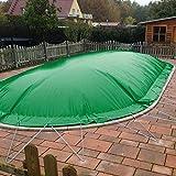 POOL Total Aufblasbare Abdeckplanen für Rechteckbecken 7,00 x 3,00m, Grün inkl. Gebläse