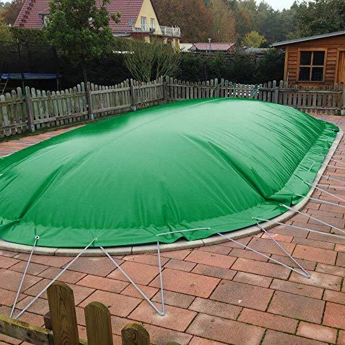 POOL Total Aufblasbare Abdeckplanen für Ovalbecken/Abdeckung für ovale Pools/Verschiedene Ausführungen (7,00 x 3,00m, Grün)