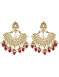 MUCH MORE Indian Attractive Style Gold Plated Party Wear Polki/Jhumka Earring Jewellery For Women's