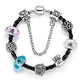 Carina Black Leather Pandora Bracelet wi...