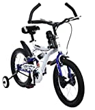 #8: MAD MAXX Steel Shocker Road Kids Cycle, 16 inches (White/Blue) for 5 to 7 Years Child