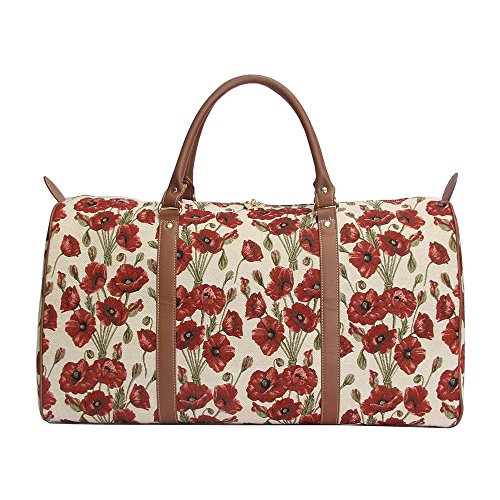 Signare grand fourre-tout bagage weekender en toile tapisserie mode femme Coquelicot