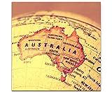 Paul Sinus Art Leinwandbilder | Bilder Leinwand 60x60cm Australien auf Einem Globus