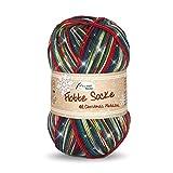 Rellana 100g Flotte Socke Christmas - Farbe: 2502 - mit Glitzerfaden Tannengrün-Rot-Blau - weihnachtliches Trendmuster