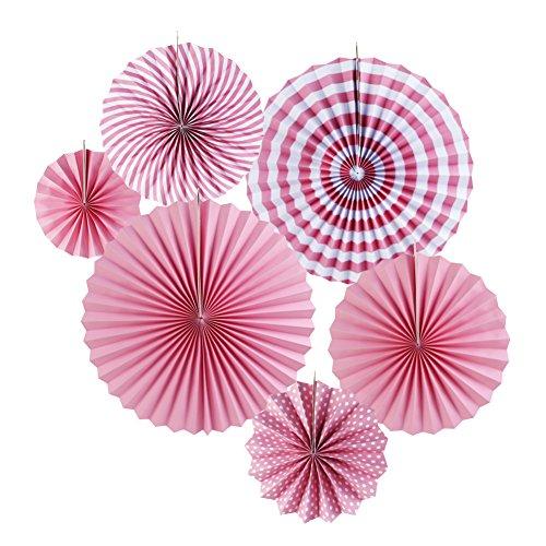 SUNBEAUTY 6er Set Tissue Papier Fans Fächer Dekoration für Party Feier Hochzeit Geburtstag Kombination 21cm 31cm 42cm (Rosa)