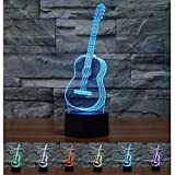 3D Tisch Nachttischlampen,KINGCOO 3D Optische Visualisierung LED Licht USB Schreibtischlampen Stimmungslichter Touch Schreibtisch 7 Farbwechsel Atmosphäre Lampe (Gitarre)