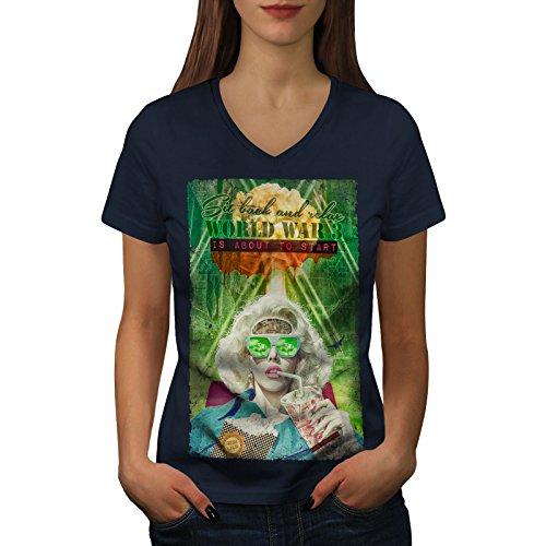 wellcoda Joystick Gaming Mode Frau S V-Ausschnitt T-Shirt