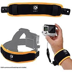 Camkix® 2en1 poignée Flotteur et Courroie de tête Flotteur - Compatible avec GoPro Hero 7, 6, 5, 4, Session, Black, Silver, Hero+ LCD, 3+, 3, 2, 1 - Empêche l'appareil Photo de sombrer