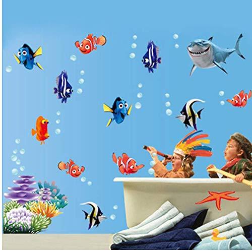 Fondos Marinos Burbuja Nemo Etiqueta De La Pared Etiqueta De La Pared De Dibujos Animados Para Niños...