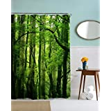 "A.Monamour Paisajes De La Naturaleza Árboles Verdes Forestales Impresión De Imagen Textil Ducha Cortina Para Accesorios De Baño Mantel Impermeable 150X180 Cm / 60 ""X72"""
